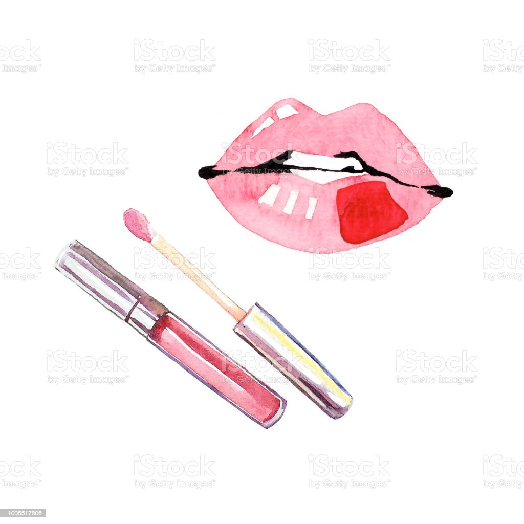 cc53023a536 Hand-painted watercolor make-up lip gloss lipstick lips illustration set  royalty-free