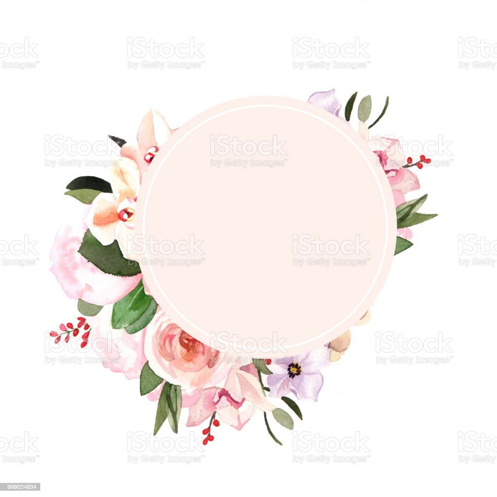 Handpainted Watercolor Pastel Flowers Illustration Round