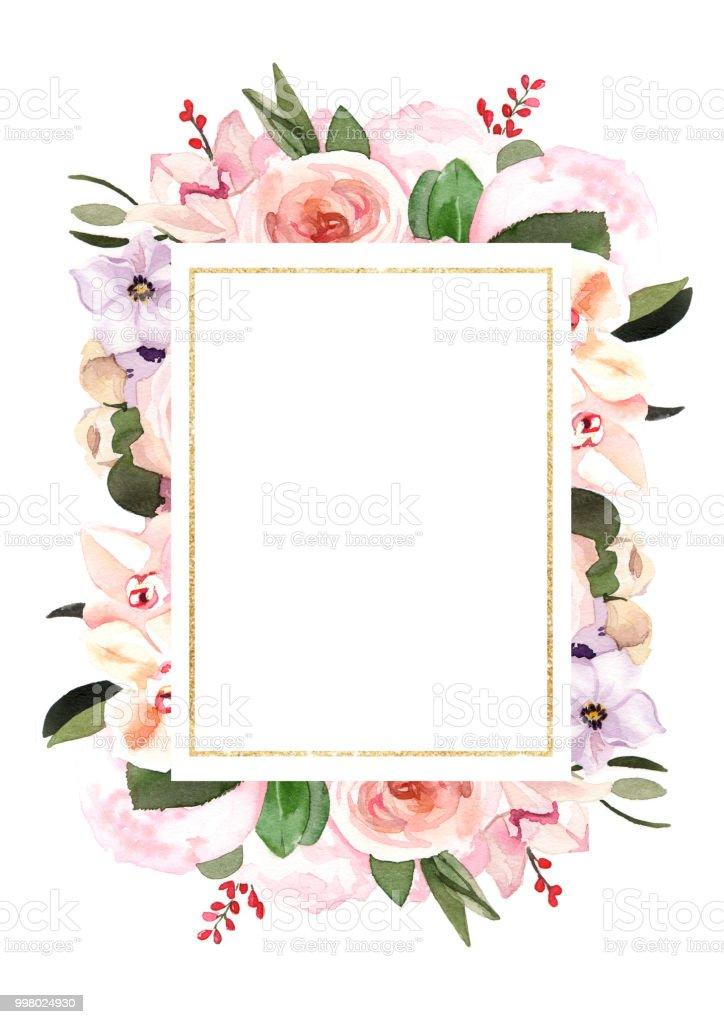 手描き水彩パステル花イラストの結婚式招待状カード テンプレート