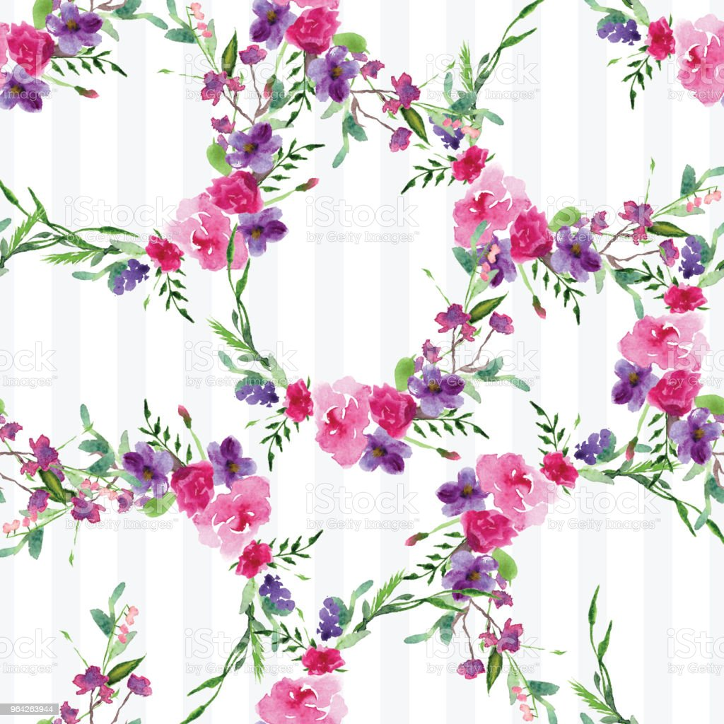 Handpainted Watercolor Pattern Of A Branch With Flowers Pink