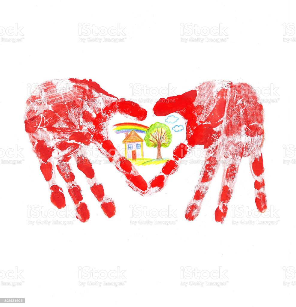 Postcard Heart with a childs palm