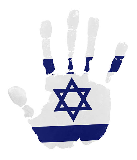handprints with israel flag - israel independence day stock illustrations, clip art, cartoons, & icons