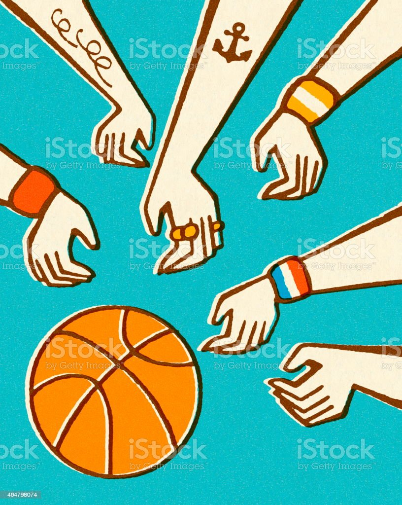 Hands and Basketball vector art illustration