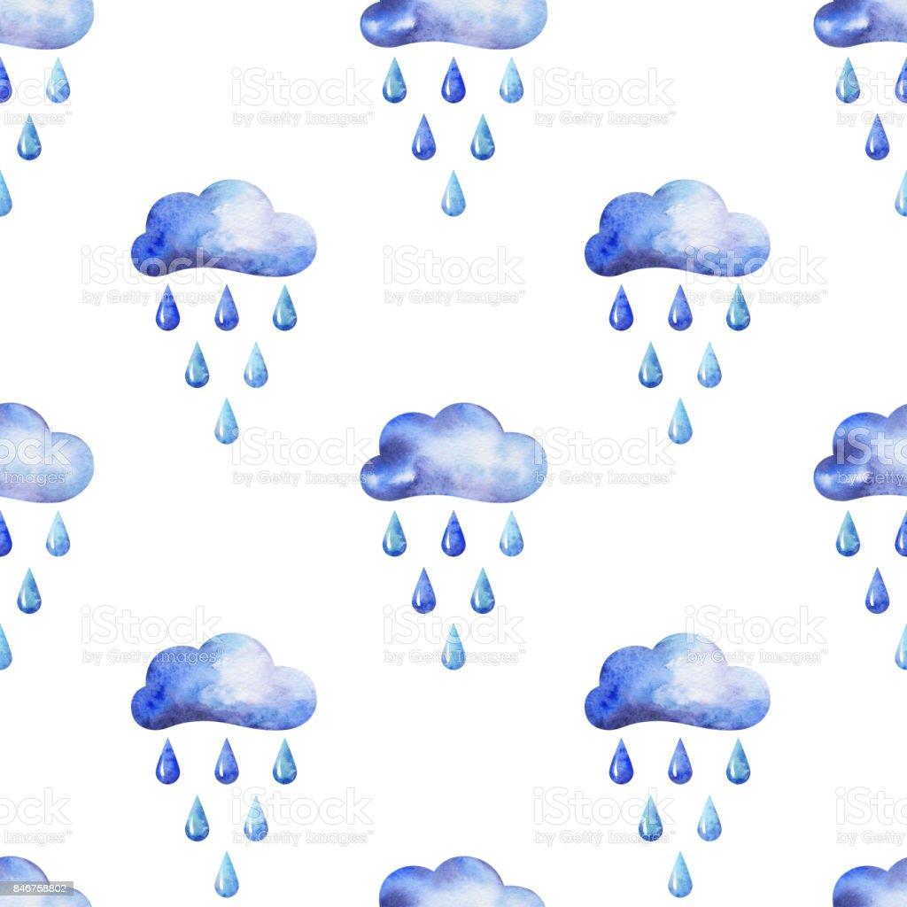 Eller Suluboya Sonbahar Seamless Modeli Bulutlar Ve Yagmur
