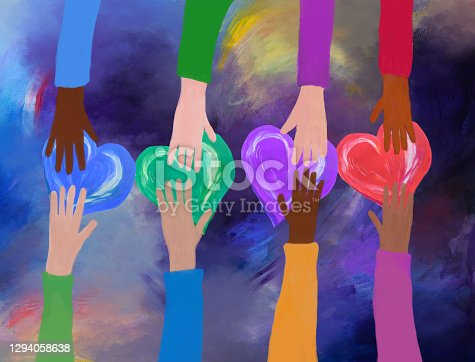 Hands giving and receiving colorful hearts. Concept of love and care. friendship, charity and volunteering. Acrylic and Mixed media. My own work.