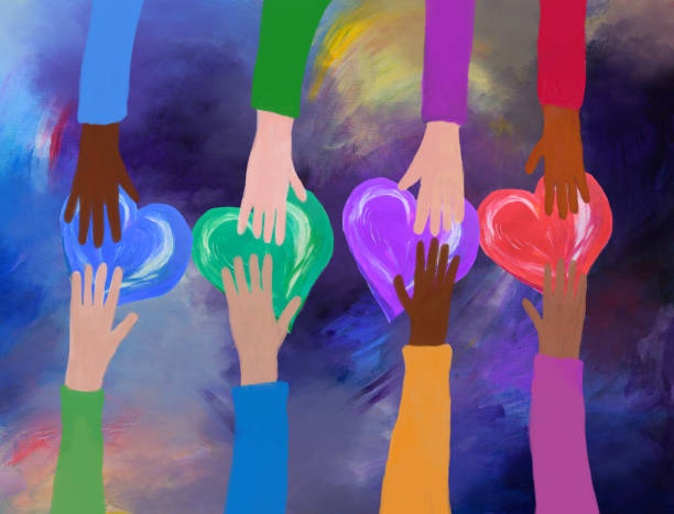 Hands giving and receiving colorful hearts. concept of love and care. vector art illustration