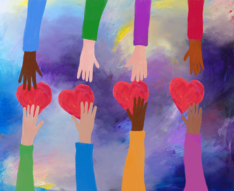 Hands giving and receiving red hearts. concept of love and care. Acrylic painting.