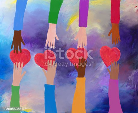 Acrylic painting of hands giving and receiving red hearts. Concept of love and care. friendship, charity and volunteering. Acrylic painting and digital media. My own work.