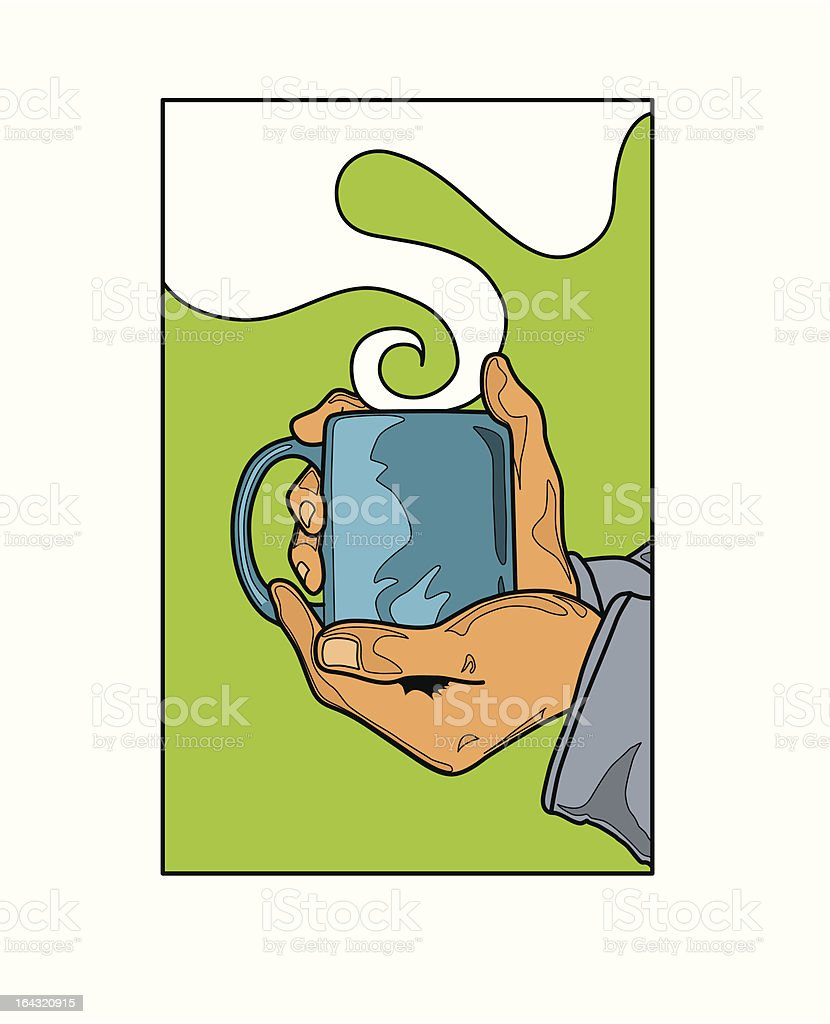 Hands holding hot beverage royalty-free stock vector art