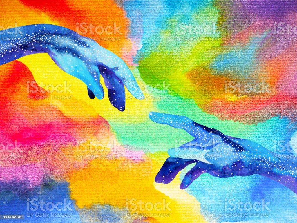 as mãos de Deus se conectar a outro mundo ilustração desenho aquarela pintada a mão desenhada - ilustração de arte em vetor
