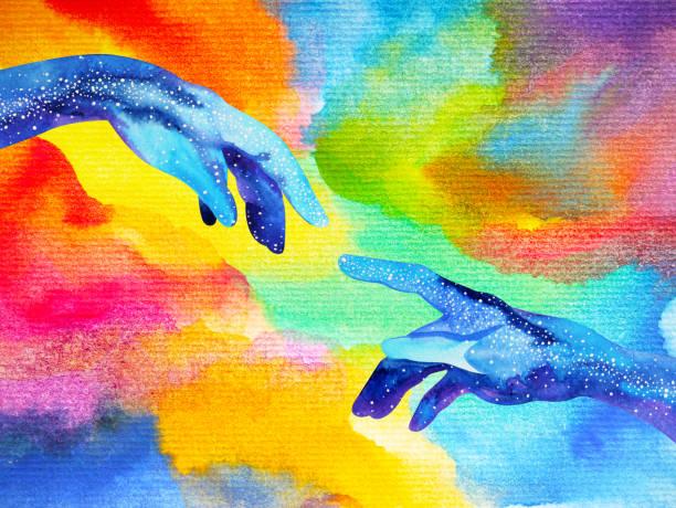 bildbanksillustrationer, clip art samt tecknat material och ikoner med guds händer ansluta till en annan värld illustration design akvarellmålning hand dras - earth from space
