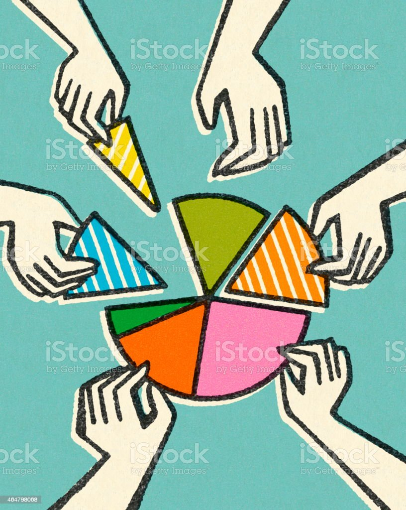 Hands Taking Pieces of a Pie Chart vector art illustration