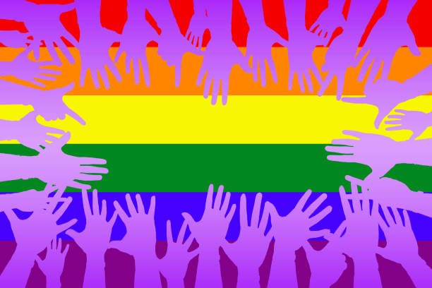 hands up colorful, night party fun or volunteer agree play together communication for gay lesbian homosexual greeting concept. vector art illustration