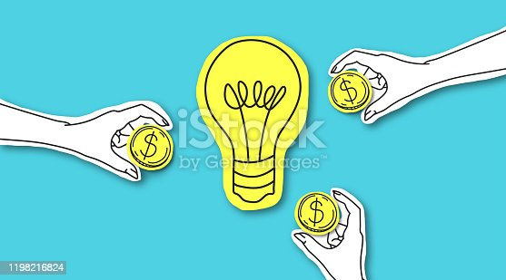 Perspective way to invest money. Hands with dollar sign coins around yellow light bulb over blue background