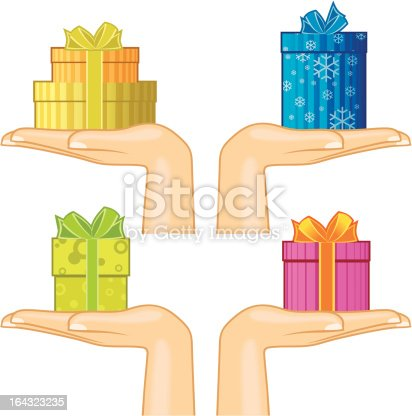 Four female hands holding various small gift boxes decorated with ribbons