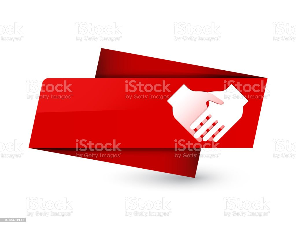 Handshake Icon Premium Red Tag Sign Stock Vector Art More Images