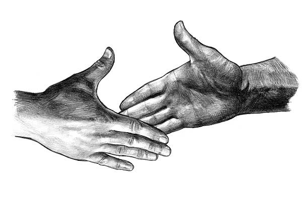 Best Two People Shaking Hands Drawing Illustrations
