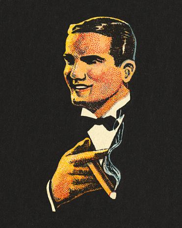 Handsome Man Smoking a Cigar