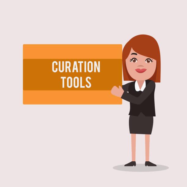 bildbanksillustrationer, clip art samt tecknat material och ikoner med handskrift text curation verktyg. begrepp som betyder programvara som används för att samla in upplysningar om ett ämne - creative curation