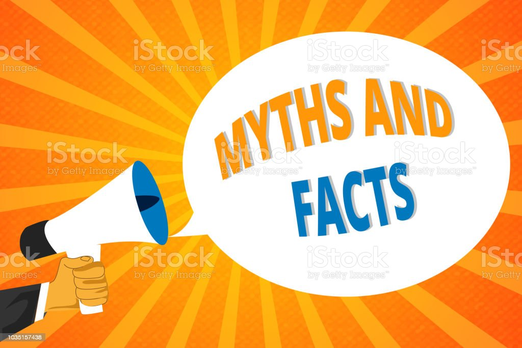 Handwriting text Myths And Facts. Concept meaning Oppositive concept...