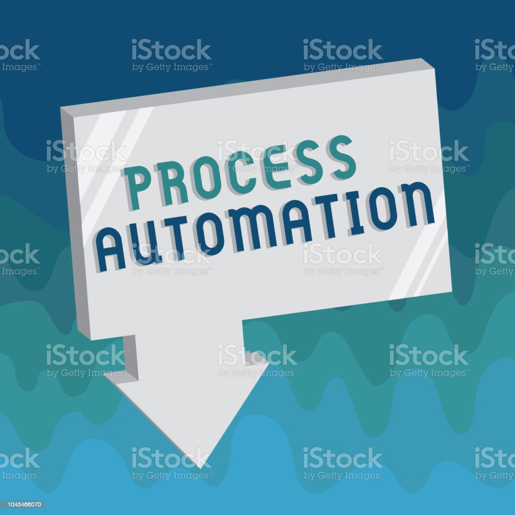 Handwriting text Process Automation. Concept meaning Transformation Streamlined Robotic To avoid Redundancy vector art illustration