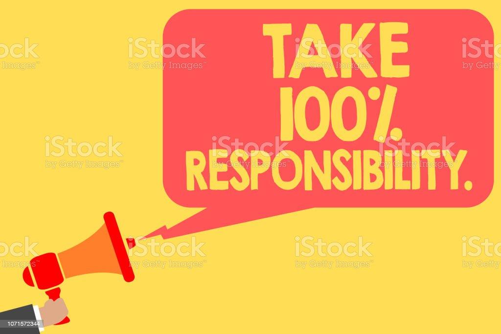 手書きテキスト 100 責任を取る.抱きかかえたメガホン スピーカー音声を行うことオブジェクトの一覧については責任を負うことを意味概念泡メッセージを大声で話します。 ベクターアートイラスト