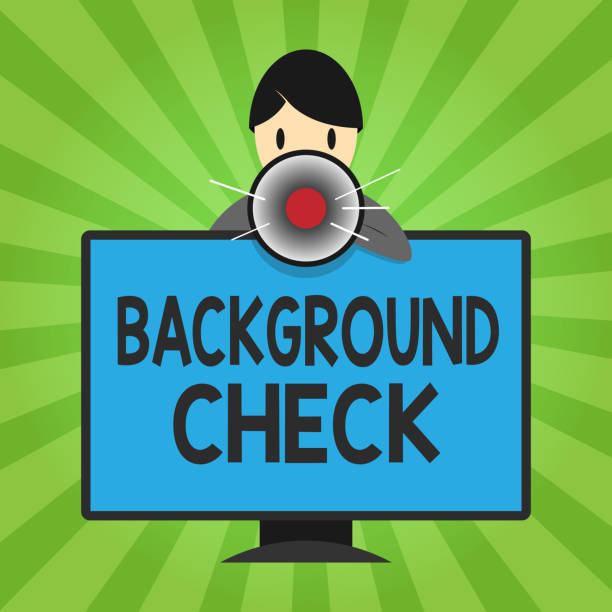 Handwriting text writing Background Check. Concept meaning way to discover issues that could affect your business Handwriting text writing Background Check. Concept meaning way to discover issues that could affect your business. police interview stock illustrations