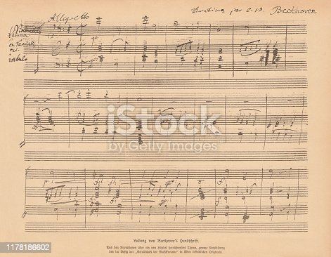 Manuscript of the Variations of a theme from Handel, written by Ludwig van Beethoven (German composer, 1770 - 1827). Facsimile, published in 1885.