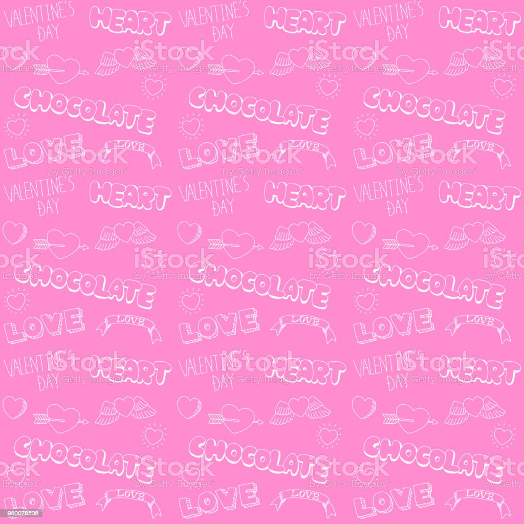 Handwritten valentine seamless pattern royalty-free handwritten valentine seamless pattern stock vector art & more images of analog