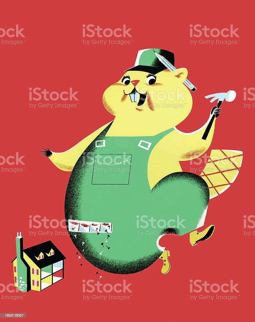 Handyman Beaver vector art illustration