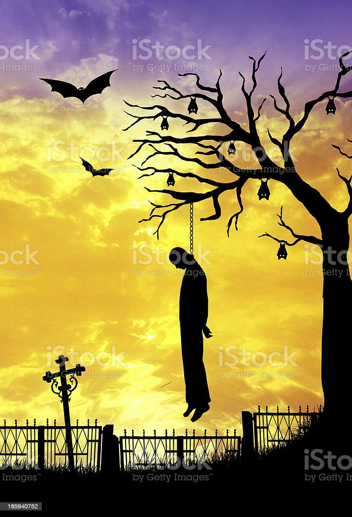 hanged man on Halloween royalty-free stock vector art