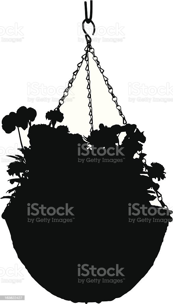 Hanging Basket silhouette royalty-free stock vector art