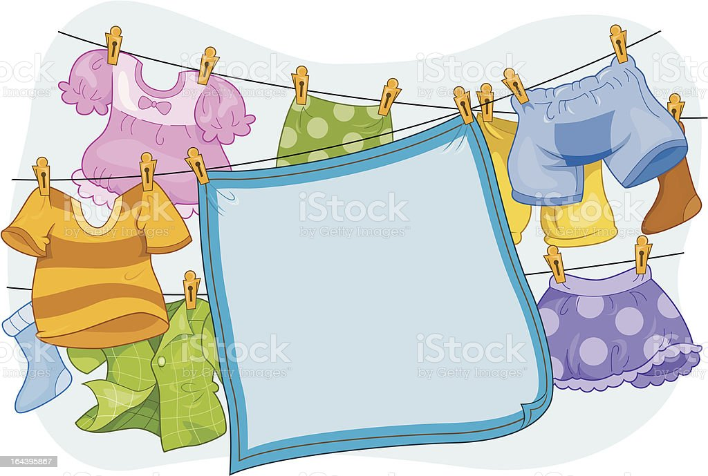 Hanging Clothes to Dry vector art illustration