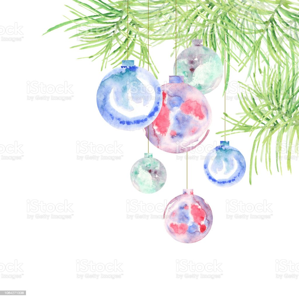 Watercolour Christmas Tree: Hanging On Fir Tree Branch Watercolor Christmas Balls