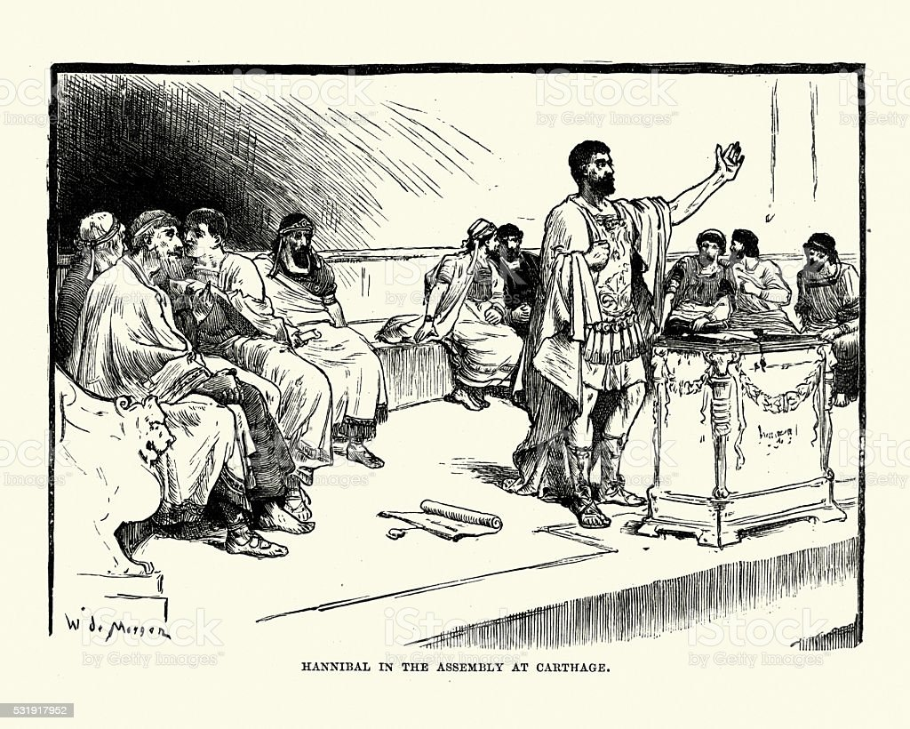 Hannibal in the Assembly at Carthage vector art illustration