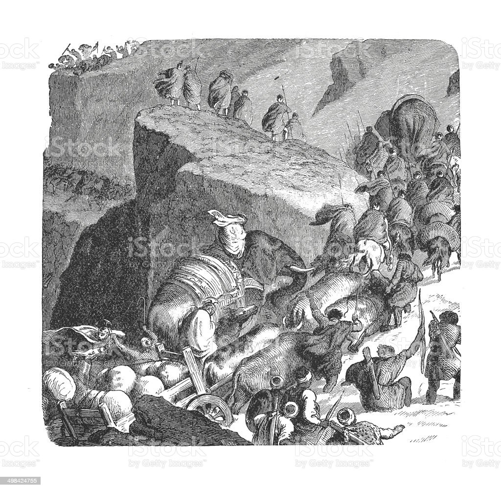 Hannibal's passage of the Alps (antique engraving) vector art illustration