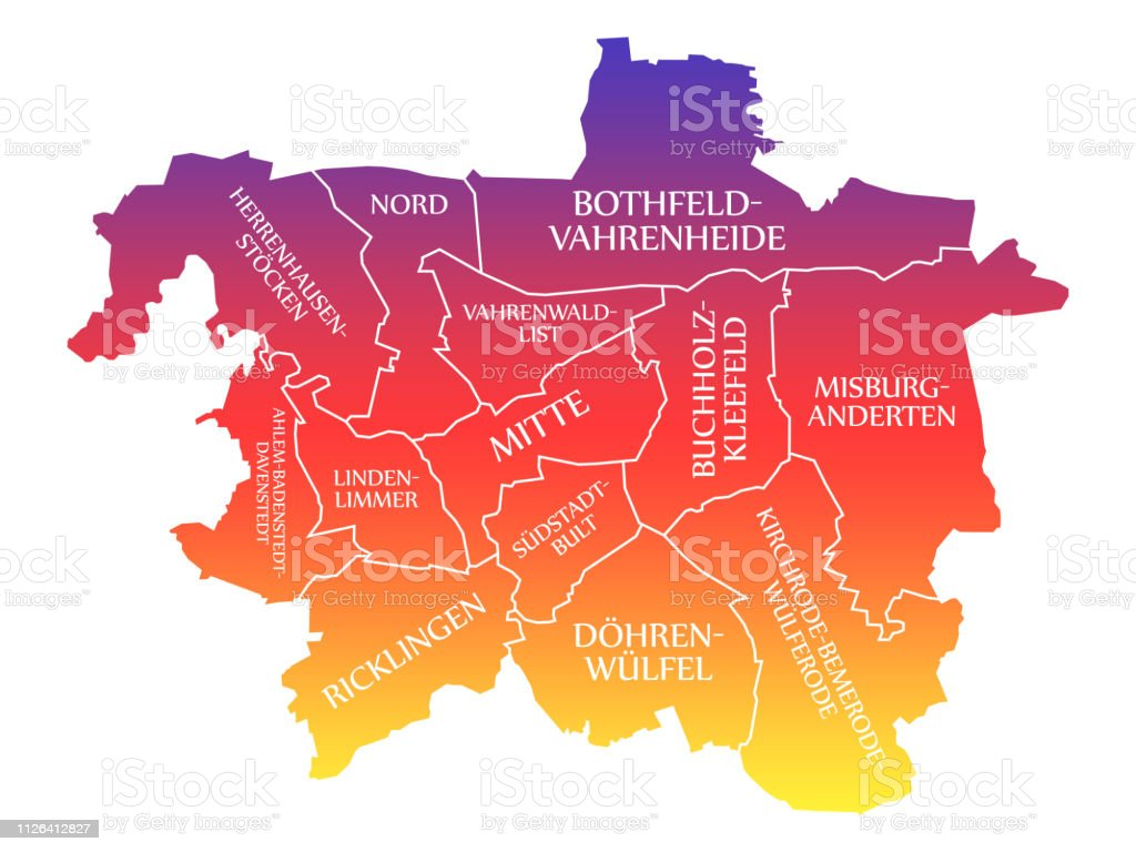 Carte Allemagne Hannover.Illustration De Couleur Arcenciel Marque Hannover City Carte