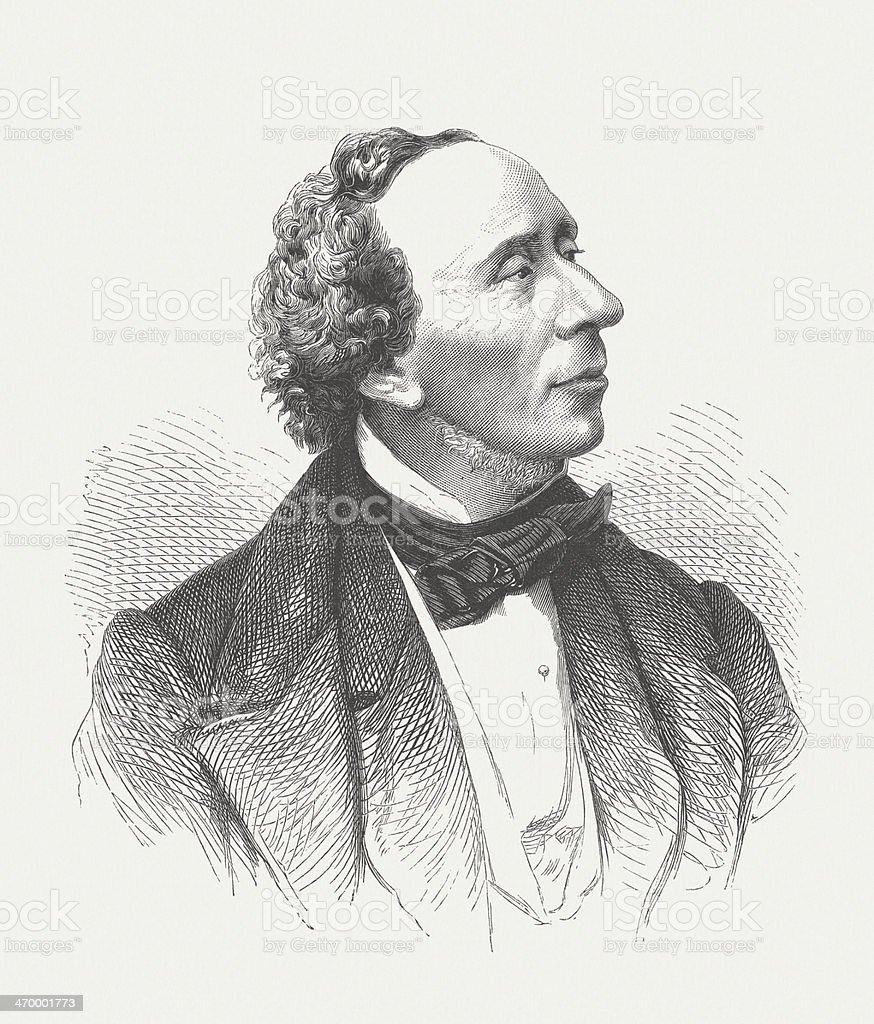 Hans Christian Andersen (1805-1875), Danish writer, wood engraving, published 1879 vector art illustration