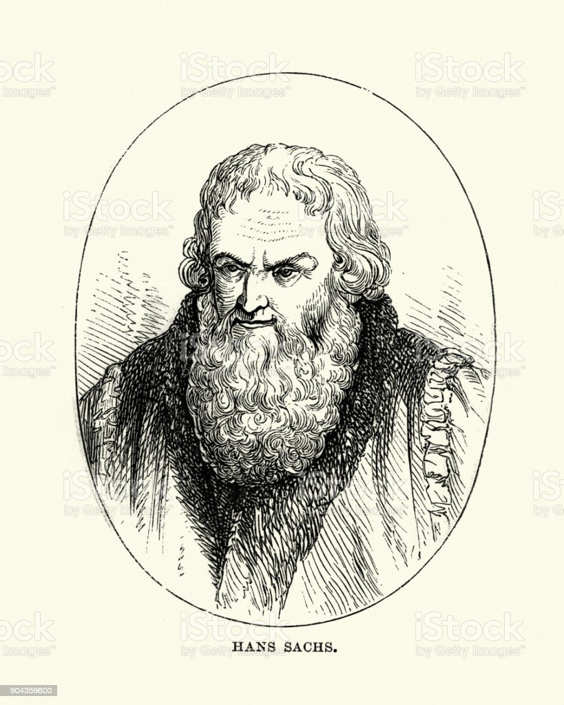 Hans Sachs, German poet and playwright vector art illustration