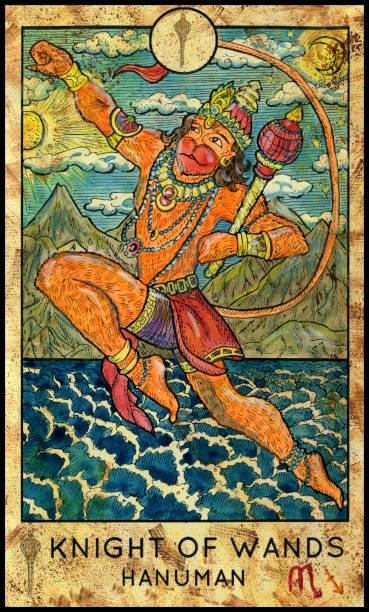 Hanuman. Hindu monkey god Fantasy Creatures Tarot full deck. Minor arcana. Hand drawn graphic illustration, engraved colorful painting with occult symbols hanuman stock illustrations