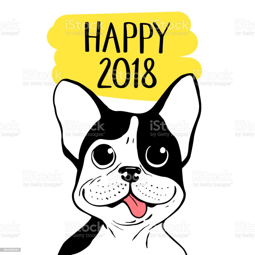 Happy 2018 vector illustration with Boston Terrier. Chinese New Year hand drawn card. vector art illustration