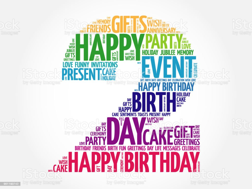 Happy 2nd Birthday Word Cloud Stock Vector Art More Images Of