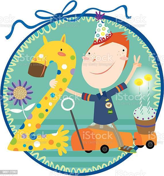 Happy 2th Birthday-vektorgrafik och fler bilder på 2-3 år