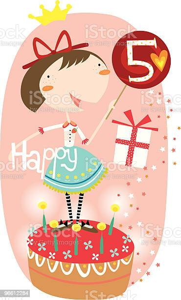 Happy 5th Birthday Girl-vektorgrafik och fler bilder på 4-5 år