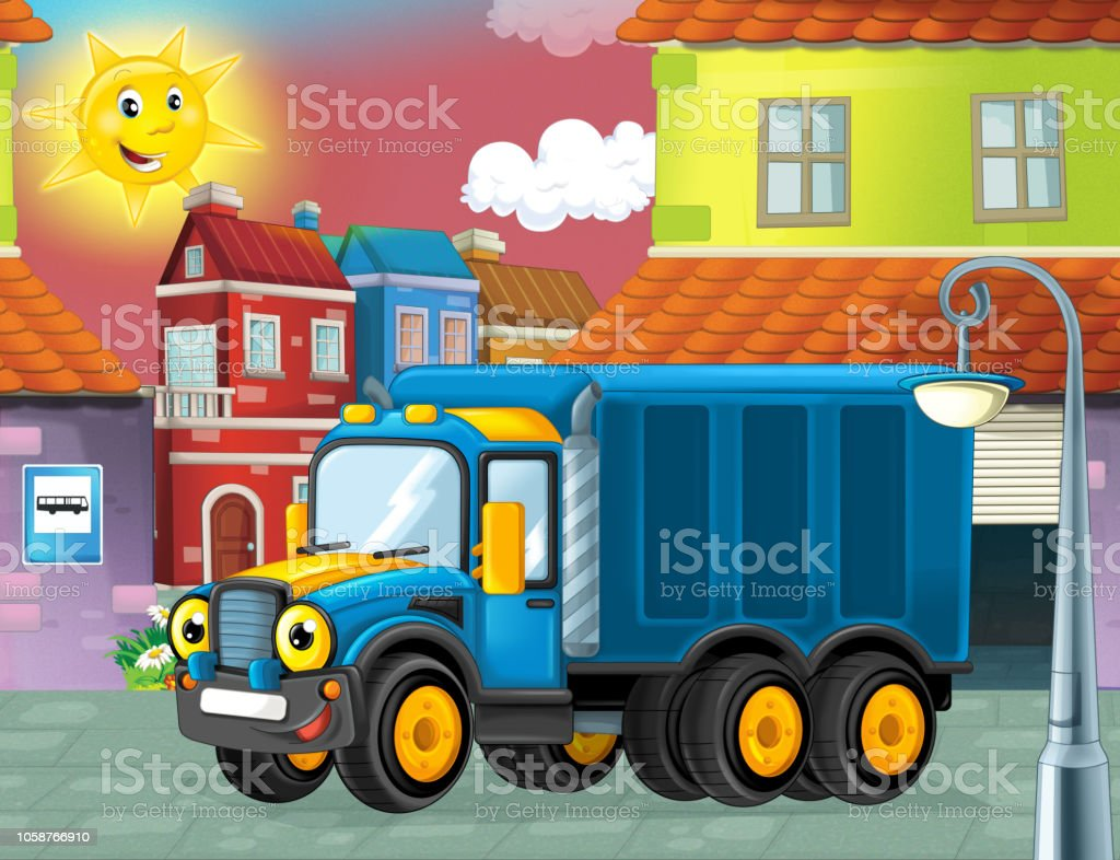 happy and funny cartoon police truck looking and smiling driving through the city or parking near the garage vector art illustration