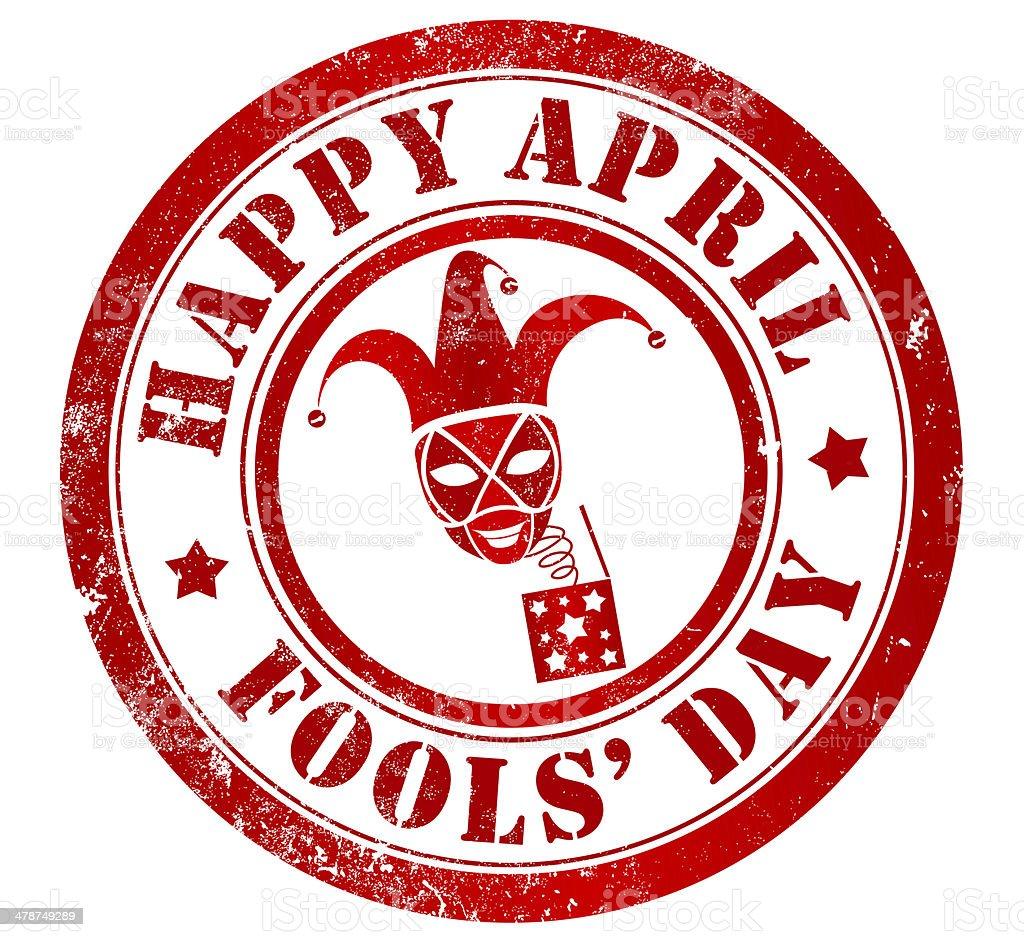 Happy april fools' day stamp vector art illustration