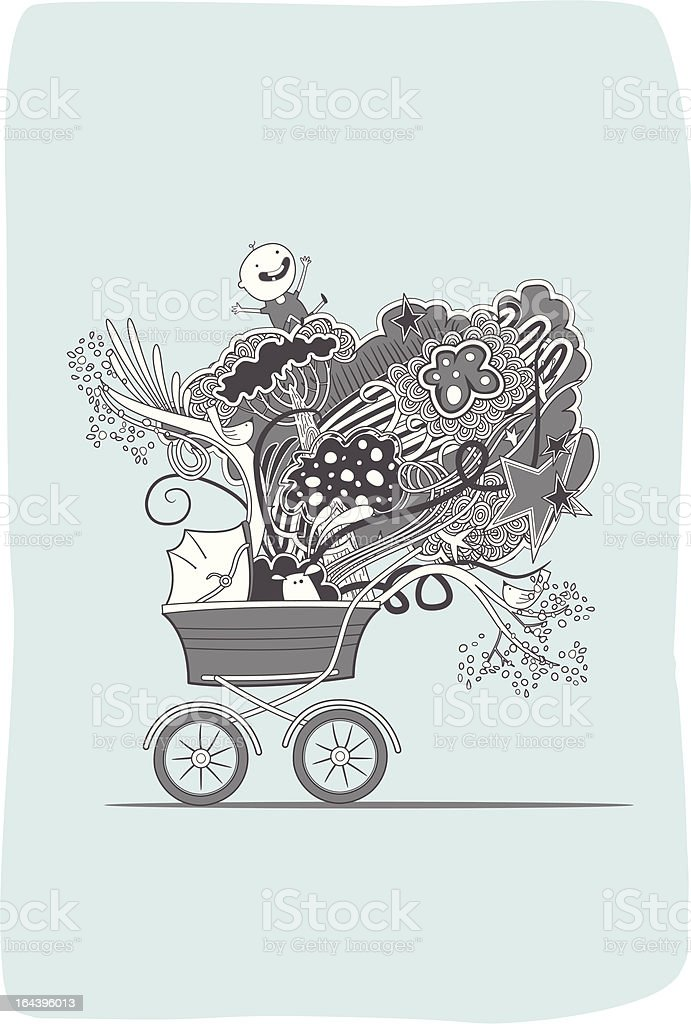 Happy baby in a pram royalty-free stock vector art