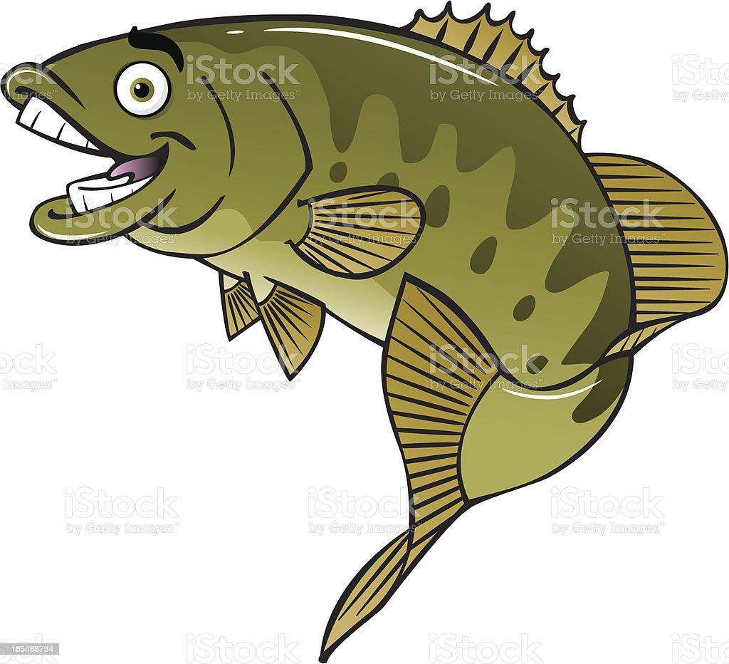 happy bass vector art illustration