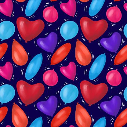 Happy birthday best seamless colorful balloon pattern