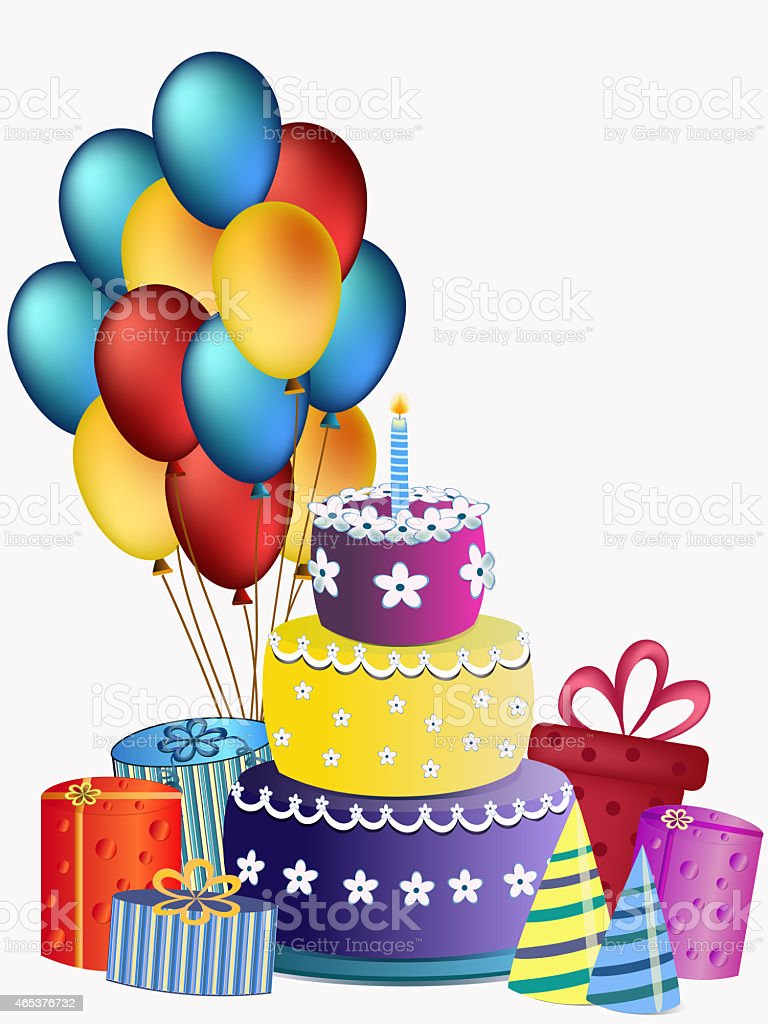 Peachy Happy Birthday Cake Balloons And Presents Stock Illustration Personalised Birthday Cards Veneteletsinfo